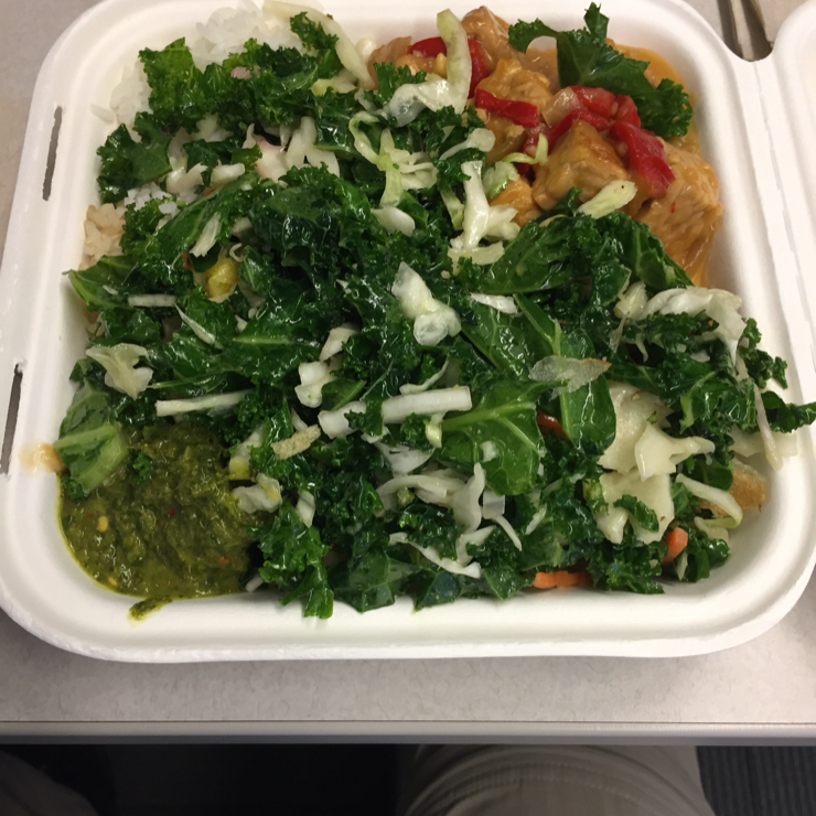 Vegan user review of GoPro in San Mateo. Tempeh, kale salad