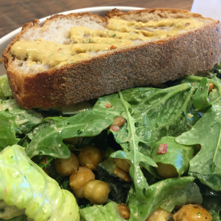 Vegan user review of sweetgreen in Mountain View. Thai Watermelon-Customized: Arugula,Romaine Lettuce,Spicy Garbanzo Beans,Watermelon,Blueberries,Mint,Spicy Broccoli,Avocado,Cucumbers,Spicy Sun Flower Seeds, and Spicy Cashew Dressing-same dressing on bread.