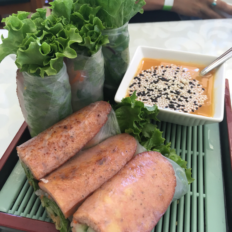Vegan user review of Green Lotus in San Jose. BBQ pork rolls, as good as autumn rolls from Mint and Basil, but you get 6 pieces!