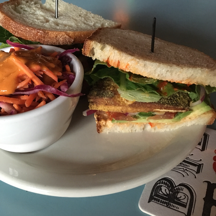 Vegan user review of Bye and Bye in Portland. Weeping Tiger Sandwich, it has good sauce, and fresh Jalapeños to give it a kick.