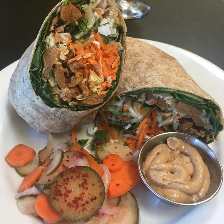 Vegan user review of Blossoming Lotus in Portland. Thai Salad Wrap