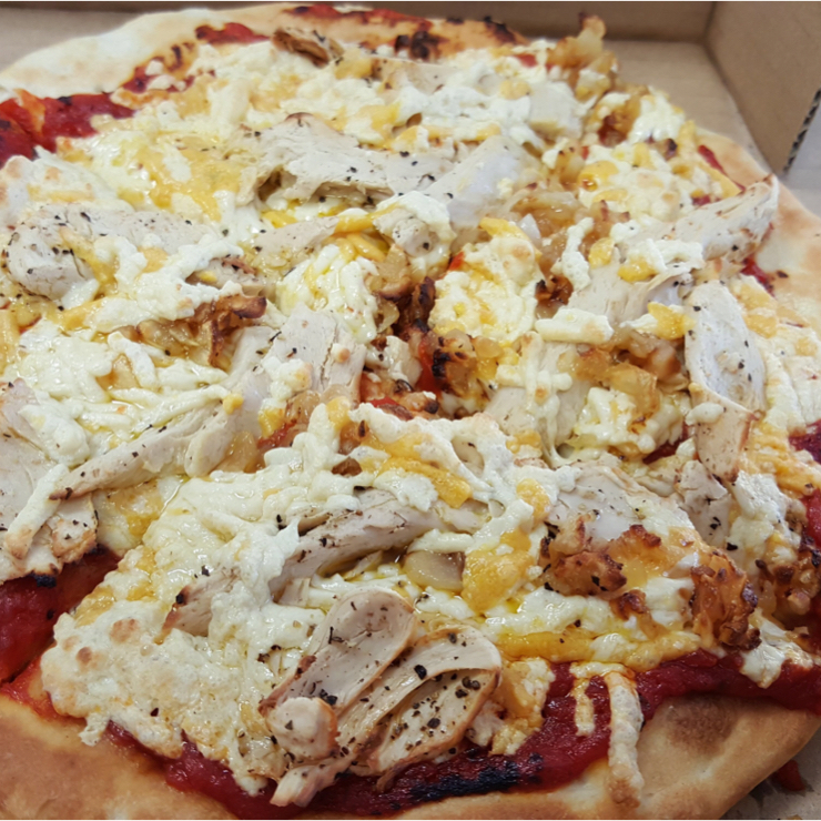 Vegan user review of Razzos Pizza And Salads in Hayward. Vegan chicken & garlic