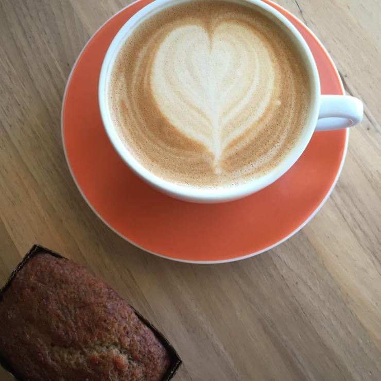 Vegan user review of Chromatic Coffee in Santa Clara. Vegan banana bread baked in San Jose and sold here