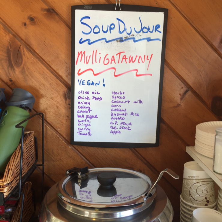 Vegan user review of A&B Naturals in Bar Harbor. Soup of the day