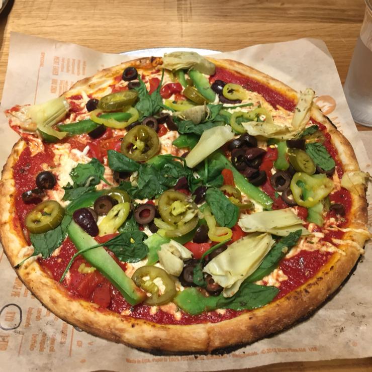 Vegan user review of Blaze Pizza in San Jose.