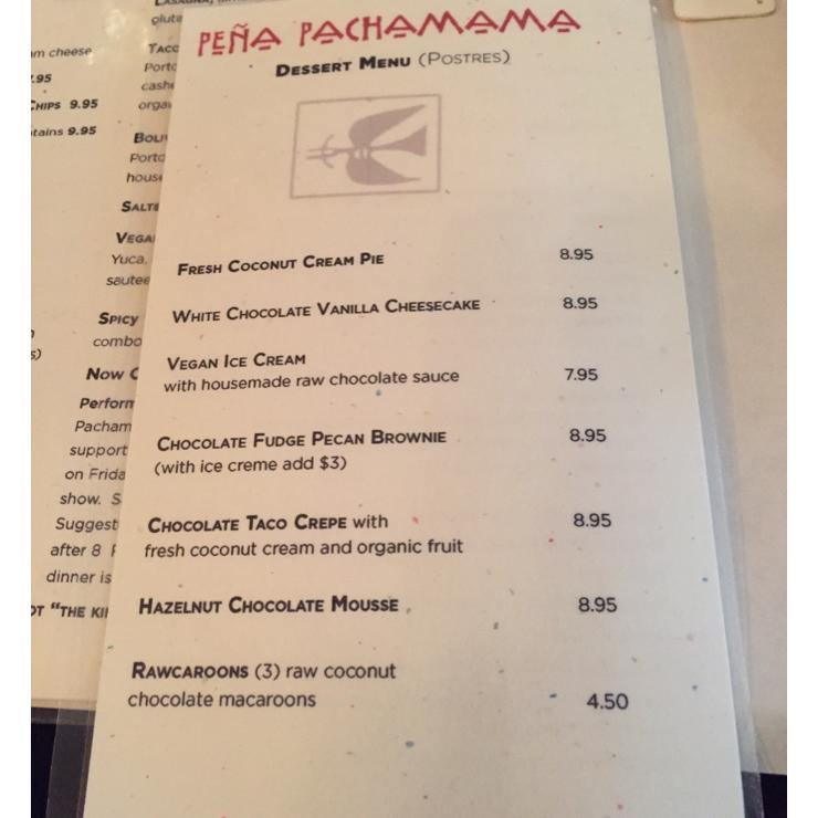 Vegan user review of Peña Pachamama in San Francisco.