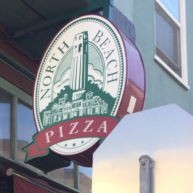 Vegan user review of North Beach Pizza in San Francisco.