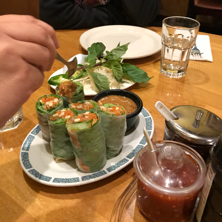 Vegan user review of Merit Vegetarian Restaurant in Sunnyvale. Spring rolls at Merit.
