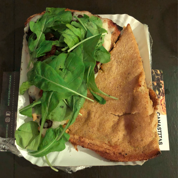 Vegan user review of Pizza Vegana - Fitz Roy in Buenos Aires. Chickpea flour pizza