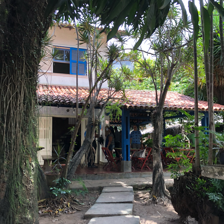 Vegan user review of Vegana Chacara in Rio de Janeiro. Located in a house on a residential street. You eat outside in the garden.