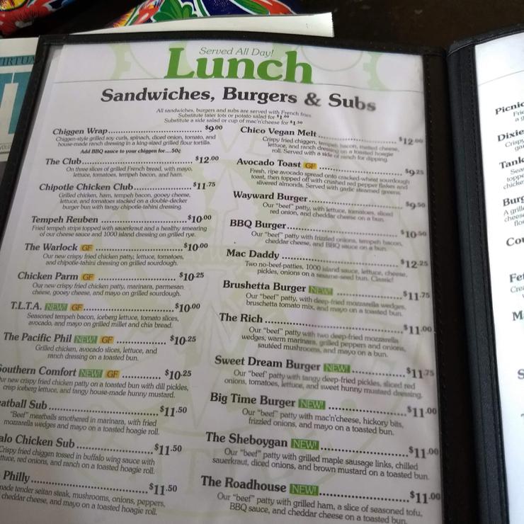 Vegan user review of Wayward Vegan Cafe in Seattle.