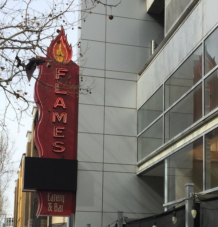 Vegan user review of Flames Eatery & Bar in San Jose.