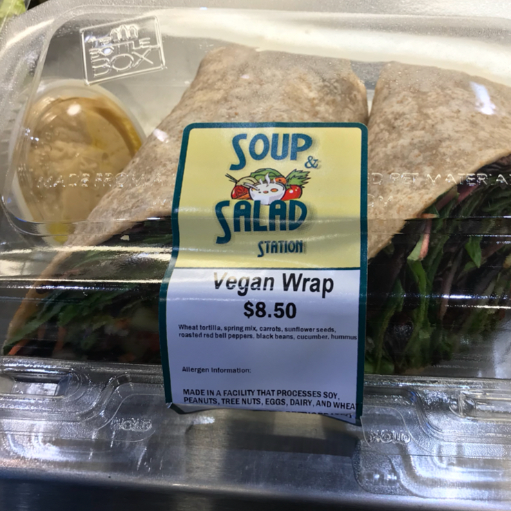 Vegan user review of The Soup and Salad Station in San Jose International Airport.