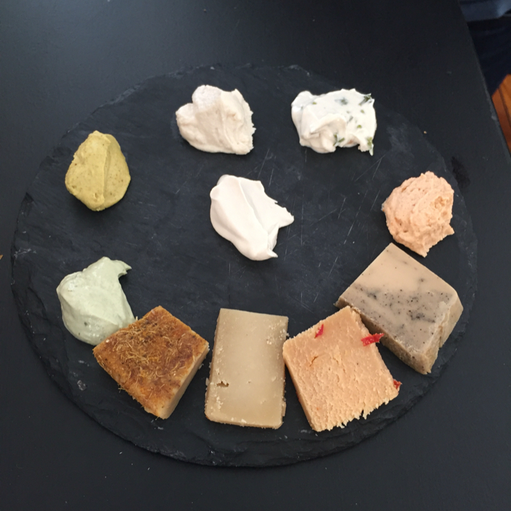 """Vegan user review of Dall'Albero in Roma. Artisan soft and aged """"hard"""" cheese board. Wow!"""