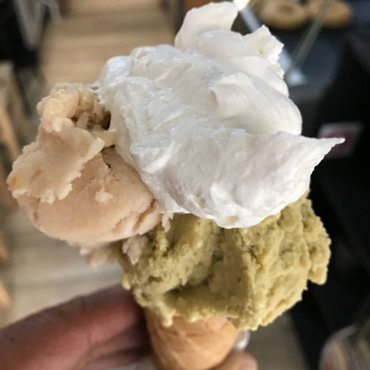 Vegan user review of Gelato Giulivo in Roma. Amazing vegan gelato. This is pistachio and pear ice cream topped with vegan whipped cream. The prices are great as well.
