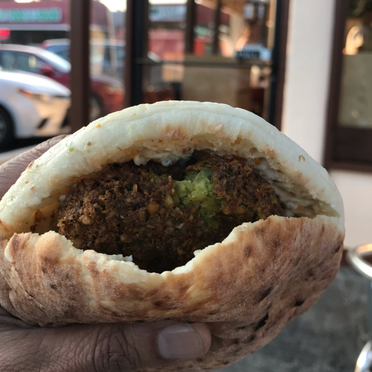 Vegan user review of Achilles in Santa Clara. One of the best falafel pocket sandwiches I've had. The heart shaped ❤️ falafels 🥙 we're fresh. Many of the toppings and sauces are vegan.