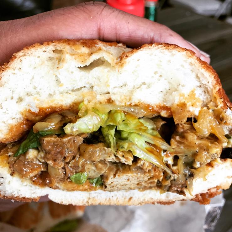 Vegan user review of The Veg Hub in Oakland. Philly Cheeze Steak Sandwich..all vegan 🌱