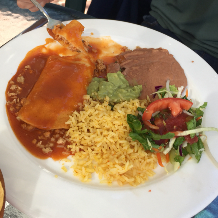 Vegan user review of Casa Mañana Restaurant in San Rafael. Enchilada plate. Order it without the cheese.