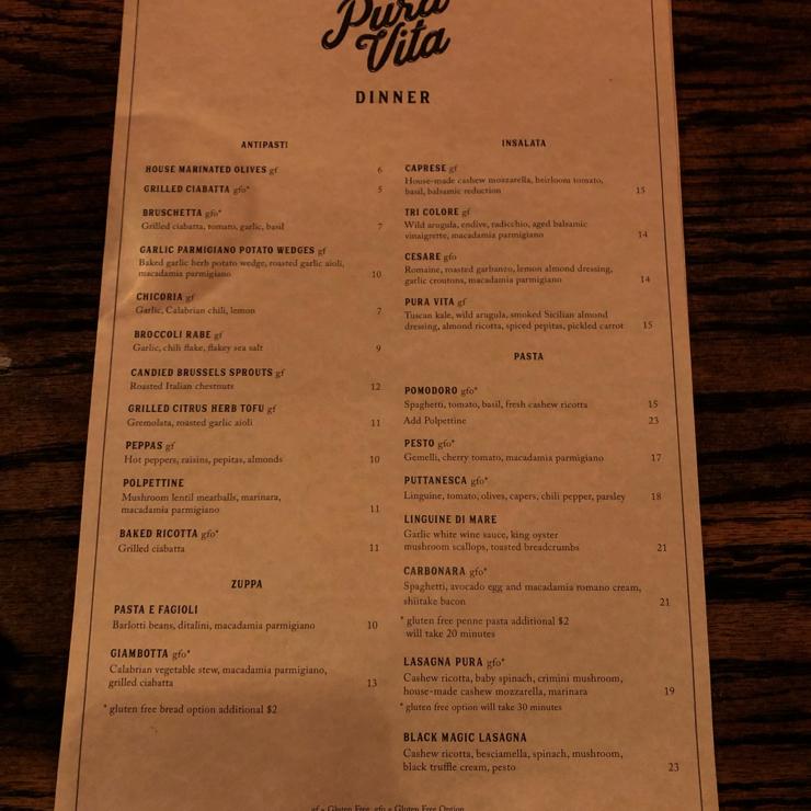 Vegan user review of Pura Vita in West Hollywood. Fully vegan Italian restaurant with gluten free options. Wine is vegan too