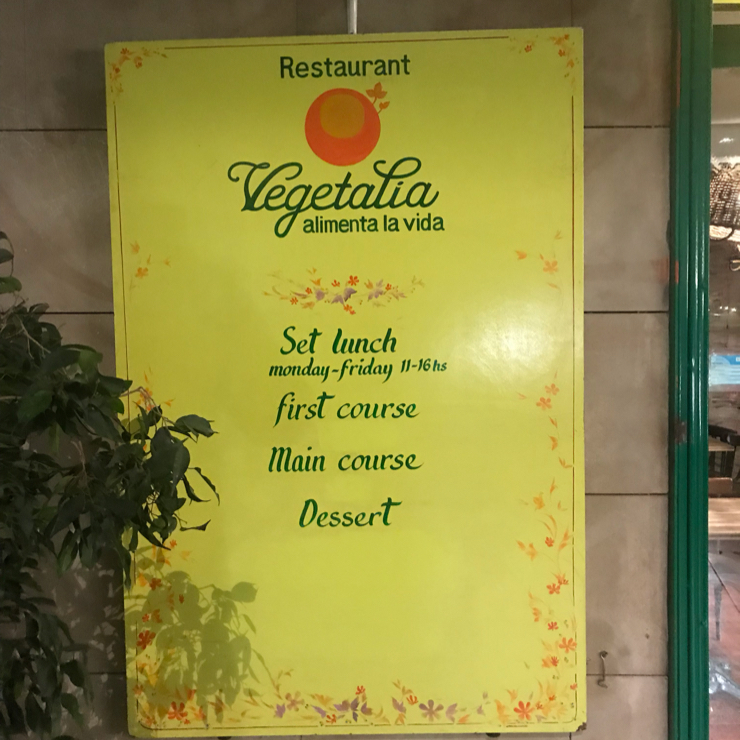 Vegan user review of Vegetalia in Barcelona. This is a vegetarian place but most items are (or can be made) vegan. They also sell their products in grocery stores. Very good quality.