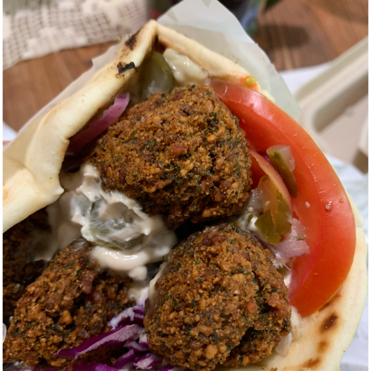 Vegan user review of Yalla Mediterranean in Dublin. This is the Lebanese falafel with eggplant and tahini sauce. It's vegan as is.