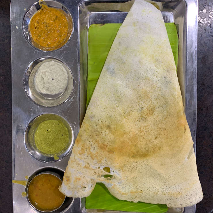 """Vegan user review of Hotel Sree Ram Prasad A/C Veg Restaurant. Amazing vegan South Indian food at this restaurant. Unlike most mainstream places they don't add """"a little bit of ghee"""" to their sambhar, which makes it vegan.  😋 😮 🤤"""