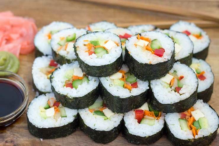 Vegan user review of Zum Sushi in Pacific Grove. Zum sushi has a vegetarian section with several vegan roll options.  I love the caterpillar roll, yammy yam roll, futomaki roll, mango tango.  There are several less interesting roll options like an avocado roll, etc..
