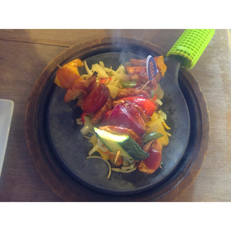 Vegan user review of Chiquito. Chiquito's has just launched a full vegan menu! There is loads to choose, from fajitas, burgers and even churros! I got their bbq fajitas and it came with violife cheese and oatley creme fresh!! It was so good and the first time I've tried Oumph! meat alternatives! I will definitely be back.