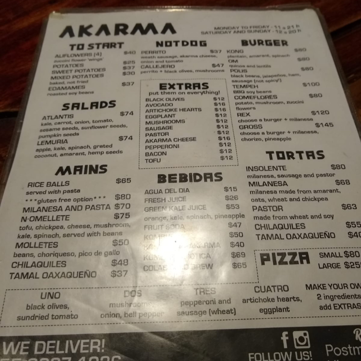 Vegan user review of AKARMA in Mexico City.