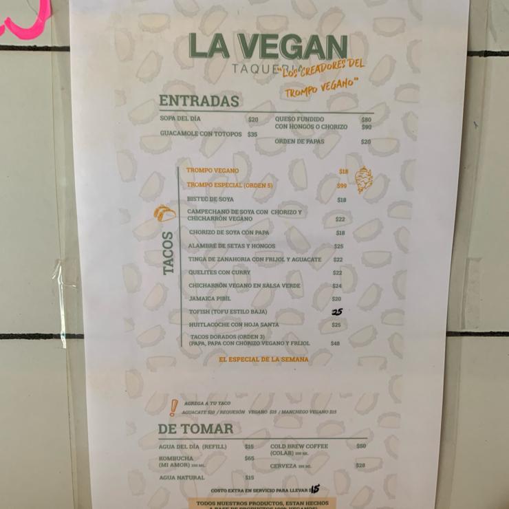 Vegan user review of LA VEGAN Taqueria in Ciudad de México. Great tacos with fresh condiments.