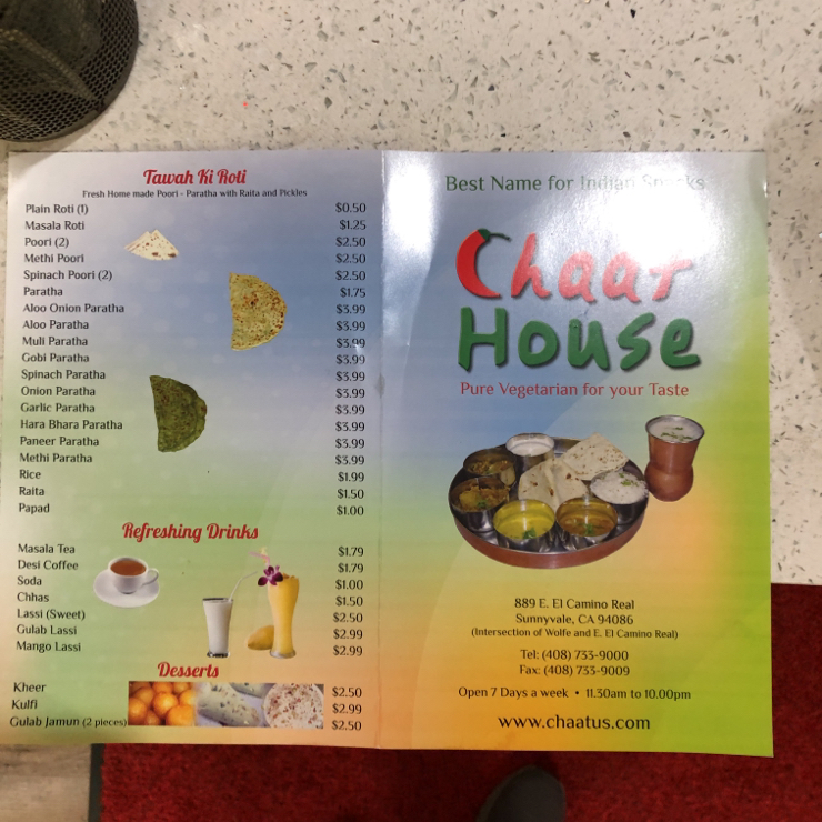 Vegan user review of Chaat House in Sunnyvale. Chaat house Sunnyvale bread is vegan. I asked them to show me the packet. So you can have pav bhaji and vada pav etc. Sev puri and thali can be veganized. Restrooms are not very clean. It's a vegetarian place, so you need to ask items without dairy.  Not too pricy.
