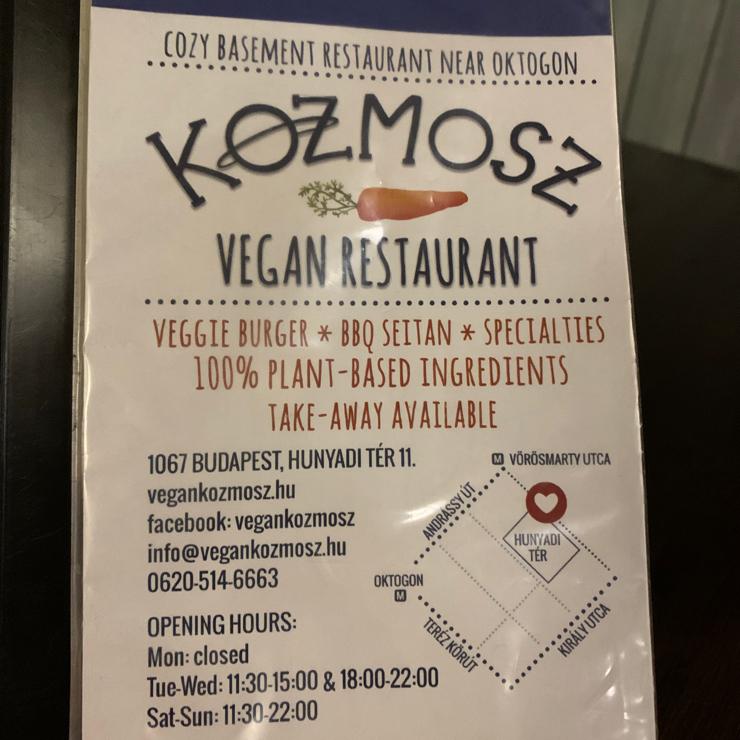 Vegan user review of Kozmosz Vegan Etterem.