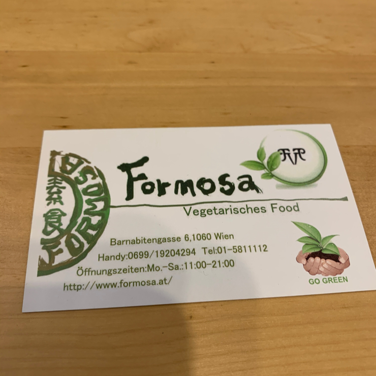 Vegan user review of Formosa Food in Wien. Taiwanese place. Sign says vegetarian but everything is vegan.