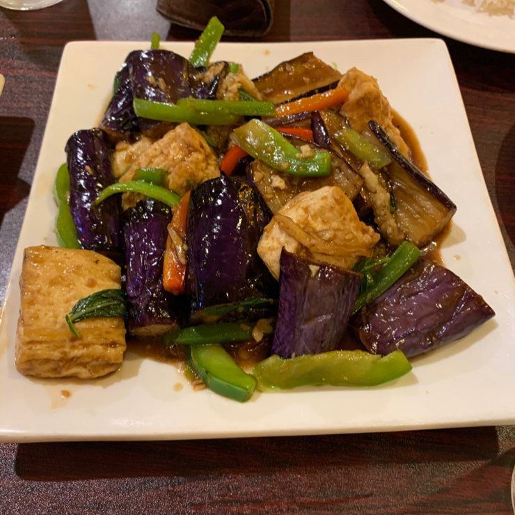 Vegan user review of Noble Vegetarian in Sacramento. Longevity rolls, orange chicken, and eggplant, tofu & basil